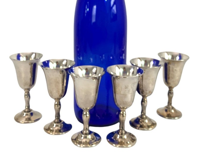 Vintage 6 Piece Silverplate Cordial Set Eales of Sheffield Silver Plate Cordials - Set of Six Retro Serving Barware Hollowware