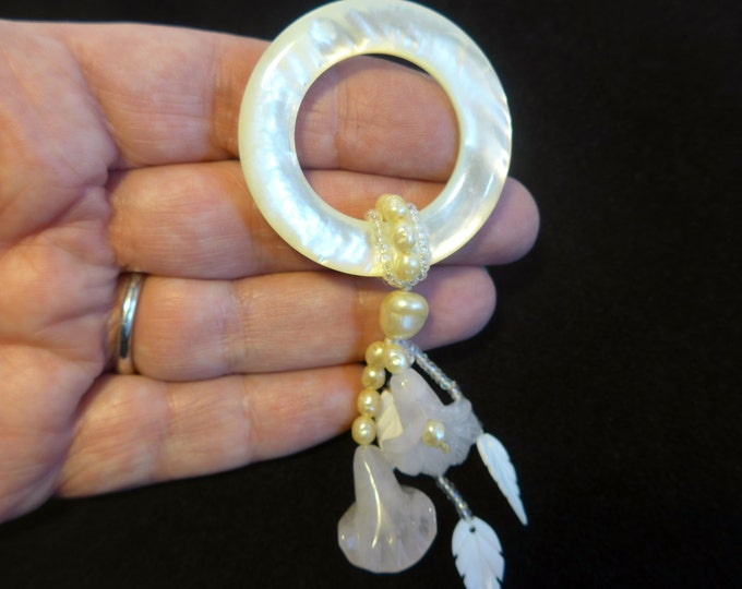 Vintage Mother of Pearl, Shell & Pearl Brooch - Round Brooch w/ Hanging Flower, Leaf Shapes and Pearls on Retro Pin - Boho Jewelry