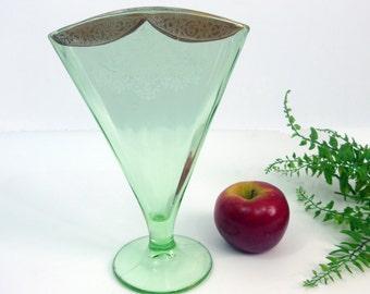 Green Depression Glass Fan Vase w/ Gold Trim - RARE Floral Urn Pattern w/ Gold Swags on Top - Antique / Vintage - Art Deco Unique Home Decor