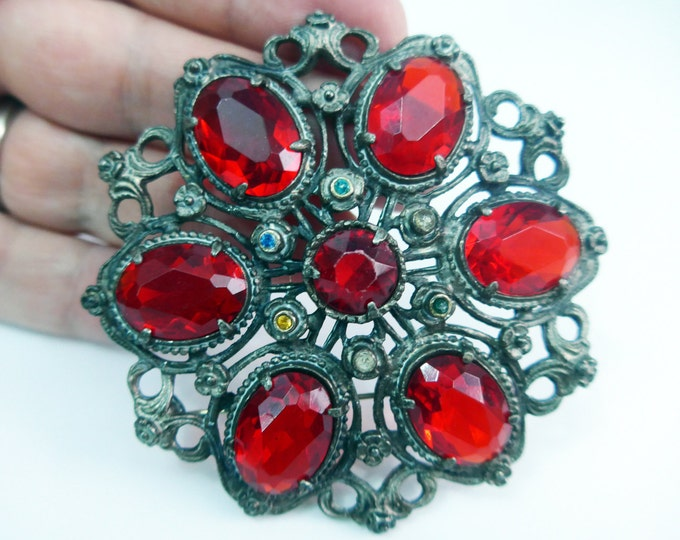 Vintage Little Nemo Brooch - LARGE Red Faceted Rhinestones w/ Multi Colored Accents - Retro Pin Gaudy Statement Mid Century Jewelry