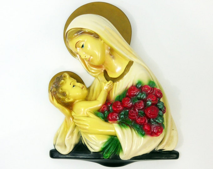 Vintage Wall Plaque Mary w/ Infant Jesus - Iridescent Virgin Mary- Ivory, Pink, w/ Gold Chalk Ware Marian Wall Plaque