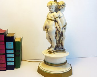 Vintage Lamp Mid century Angels / Nude Cherubs Ivory with Gold Accents - Large Table Lamp Hollywood Regency - Ornate Chalkware Lamp