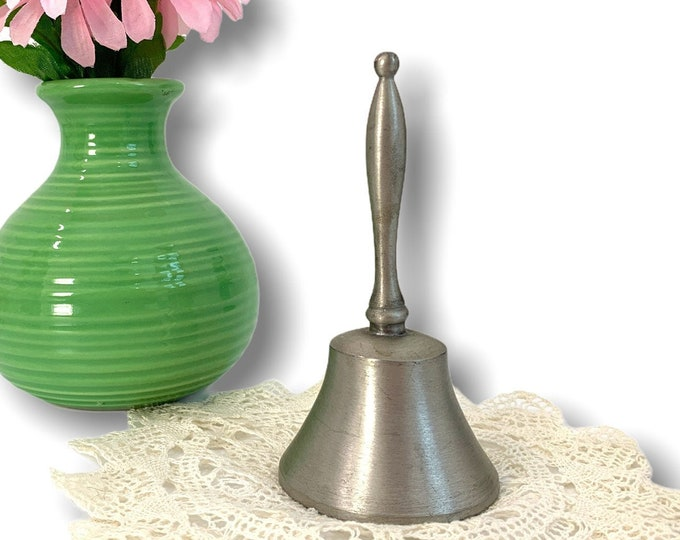 Vintage Pewter Bell - Traditional Style Hallmarked Woodbury - Retro Home Decor - Small Dinner Bell Collectible