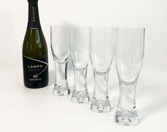 Vintage Set of 4 Heavy Hand Blown Champagne Glasses - Handblown Martini Cocktail Mid Century Danish Modern Design - Thick Glass Base Bubble