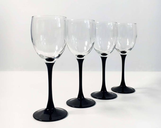 Vintage Set of 4 Luminarc France Black Stem Wine Glasses / All Purpose Drinkware - Mid Century Modern - Black Clear Barware