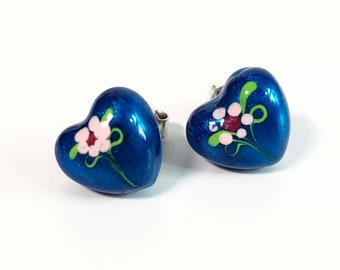 Vintage Sterling Silver Blue Painted Heart Post Earrings - HAN Puffy Heart Painted Pink Flower Floral Pair Marked 925 Sterling Silver ITALY