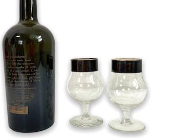 Pair Silver Band Wine Cocktail Glasses - Two Vintage Mid century Dorothy Thorpe Style w/ Bulbous Bottom - 2 Retro Barware Drinkware Stemware