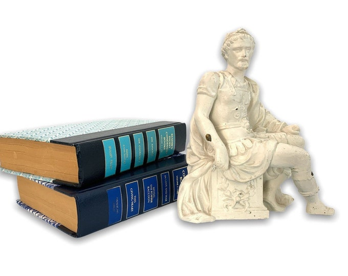 Vintage Statue Ancient Greek / Roman Seated - Off-white Painted Heavy Metal Sculpture - Shabby Chic Retro Home Library Decor