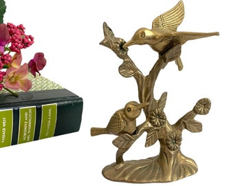 Vintage Hummingbirds in Branch Figurine - Brass Birds W/ Flowers on Tree Figure Small Statue Birds Flowers on Branch Home Decor