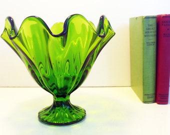 Vintage Green L E Smith Glass Vase - Art Glass Bowl Pedestal Dish - Ruffled / Ruffle Ripple Edge Sides Mid Century Compote Home Decor