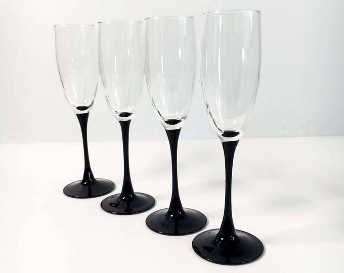 Vintage Set of 4 Luminarc France Black Stemmed Champagne Glasses or Flutes -  Black Stem Luminarc Mid Century Modern