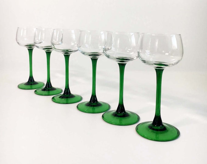 Vintage Wine Cordial Glasses with Green Stem - Set of 6 - FRANCE Rhine Clear Bowl Green Stems Stemware - Mid Century CRISTAL D'ARQUES-Durand