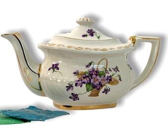 Vintage Gibsons England Teapot Violet Flowers & Basket Floral - Retro English China Tea Pot Georgian W/ Gold Accent Trim and Purple Flowers