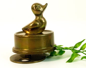 Vintage Brass Music Box Duck Plays Small World - Retro Wind Up Ducking Collectible - Mid century Interpur Musical Home Child Decor