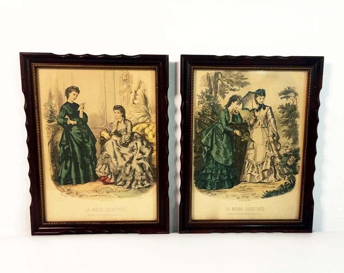 Pair of Vintage La Mode Illustree Reproduction Prints - Parisian Artist Anais Toudouze Paris Framed Print of Two Victorian Women Wall Decor