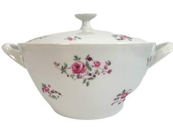 "Mid Century Crown Bavaria Wild Rose 8"" Round Covered Vegetable Casserole - Vintage Kitchenware - Retro Serving White Pink Flower Dining"
