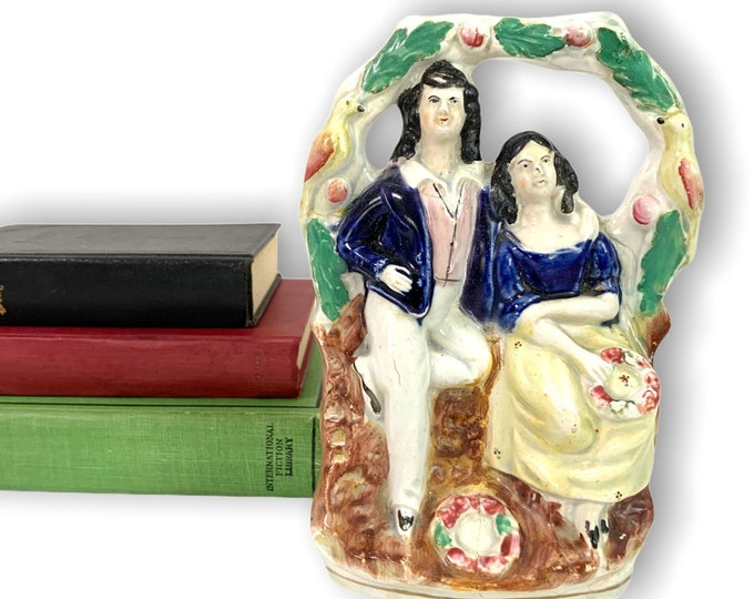Antique Staffordshire Figurine Man Woman Pottery England circa 1800s - Flatback Vintage Home Decor - Has Repairs
