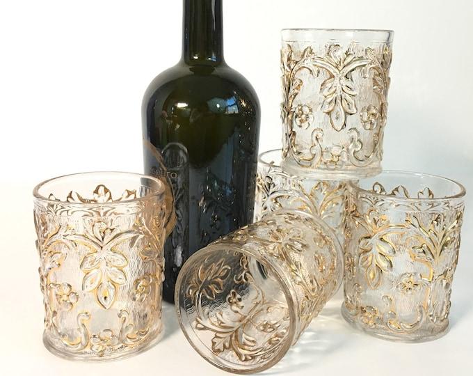 Vintage Set of 5 Cocktail Rocks Glasses - Retro Embossed Gold Design Florals & Swirls - Fancy Barware Entertaining Drinkware