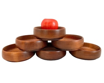 Vintage Baribocraft Set 6 Wood Bowl Set - Six Stacking Maple Wooden Salad Bowls Decor Serving Canada
