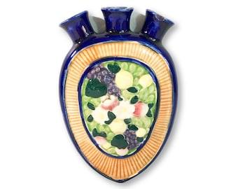 Vintage Ceramic Wall Pocket Vase Blue Floral Home Decor