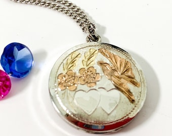 Round Etched Sterling Silver Locket Necklace - 925 Bird Hearts Flowers on Circle Pendant w/ Copper Color Contrast - Vintage Necklace