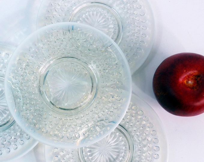 4 Vintage Anchor Hocking Bread & Butter Plate in Moonstone Clear Opalescent - 1942 to 1946 Depression Glass -  Four Retro Serving Plates