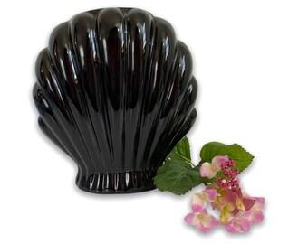 Vintage Black Ceramic Vase Mid century - Retro Clam Shell Shape Pottery Home Decor Cottage Beach