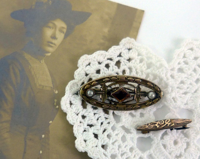 2 Antique / Vintage / Retro Collection of Brooches / Pins - Pair Gold Tone Victorian Beauty & Baby Pins - Faux Pearls w/ Stone - Accessories