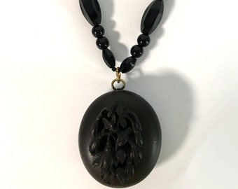 Antique Gutta Percha Locket on French Jet Bead Necklace Mourning Jewelry 1800s Remembrance Black