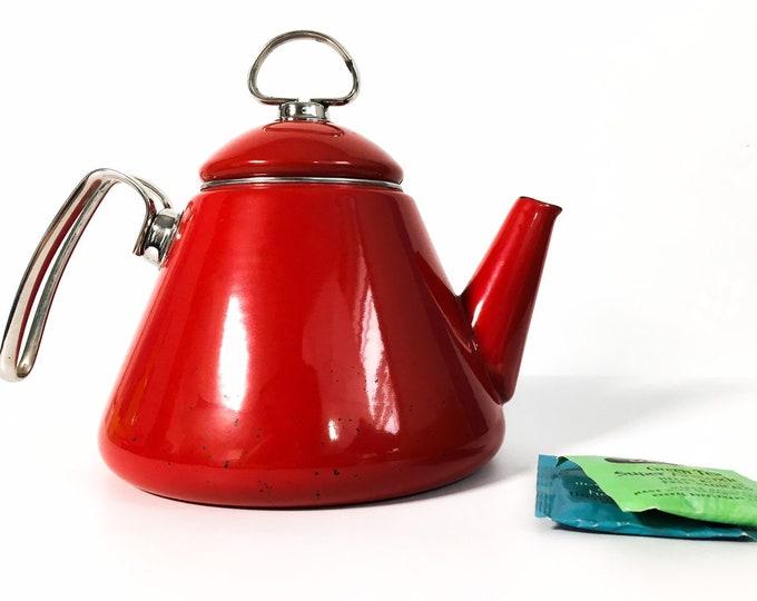 Vintage Chantal Teakettle - Chantal Apple Red Enamel Teapot with Blue Enamel Interior - Vintage Tea Pot w/ Cone Shape Mod Modern Kitchen
