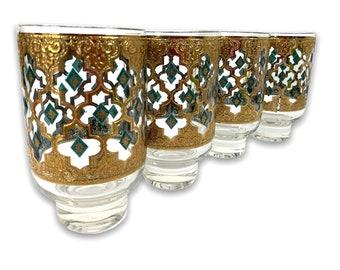 Vintage Set of 4 Culver Valencia Cocktail HiBall Glasses - Atomic Green & Gold Barware Tumblers - Mad Men Era Barware - Mid Century Mod
