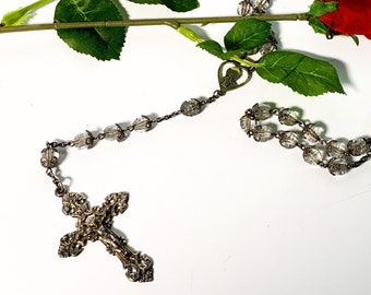 Vintage Sterling Silver Clear Faceted Encased Filigree Beads - Rosary Hallmarked STERLING CAP w/ Ornate Cross - Retro Religious Prayer Beads