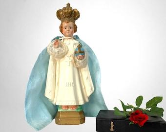 "Vintage Statue of Infant of Prague - 13"" Tall Chalkware Crown & Robe Baby Jesus Mid Century Religious Catholic Shabby Chic"