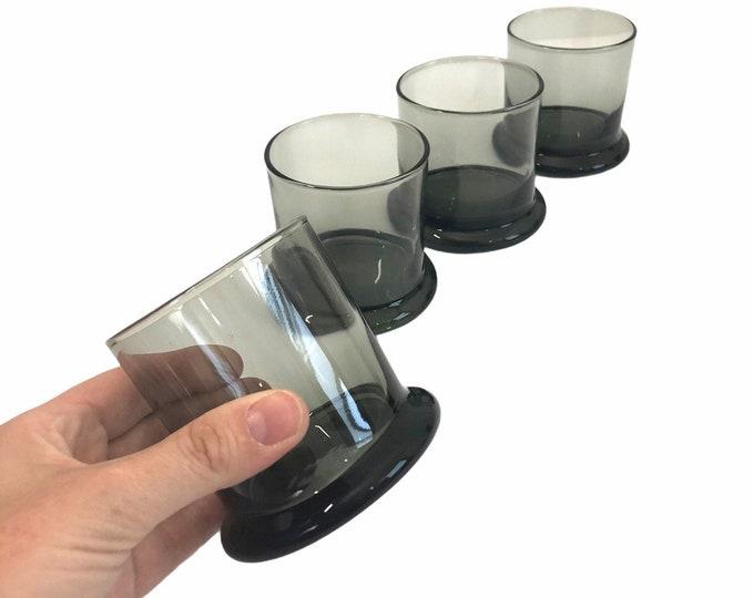 Vintage Smoky Grey Glasses or Tumblers Set of 4 Lowball / Barware - Retro Glassware Mid Century Mod Old Fashioned Barware