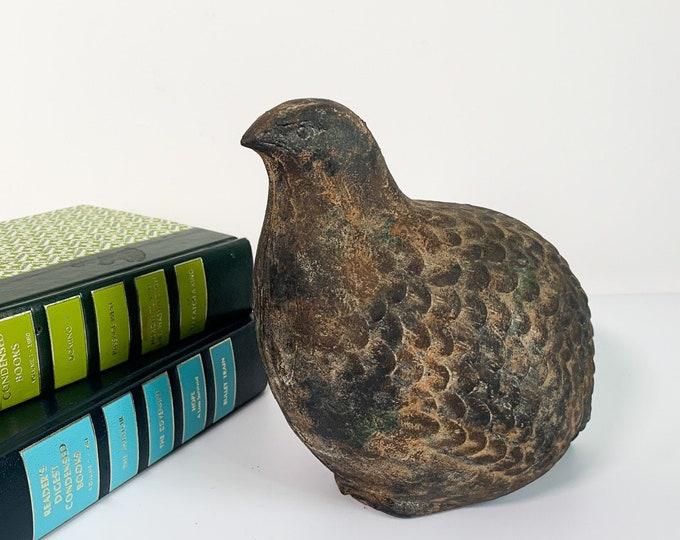 Vintage Metal Bird w/ Faux Verdigris - Garden & Home Decor - Quail or Partridge Rustic Metal Shabby Cottage Chic Animal