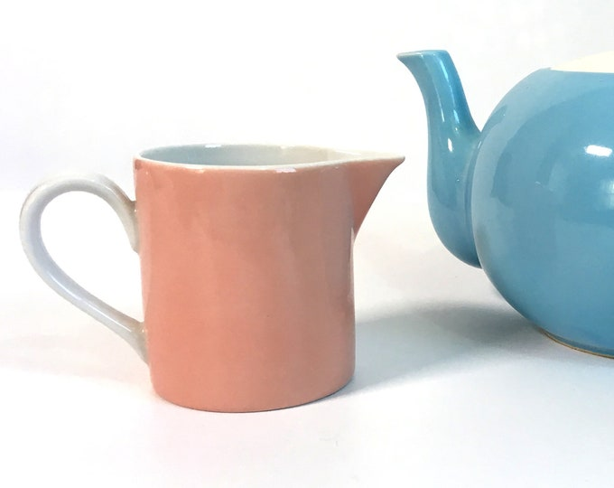 Vintage Fitz and Floyd La Ronde Pink Creamer Dated 1975 - Pink w/ White Interior Ceramic Creamer - Late Mid Century Kitchen Serving Decor