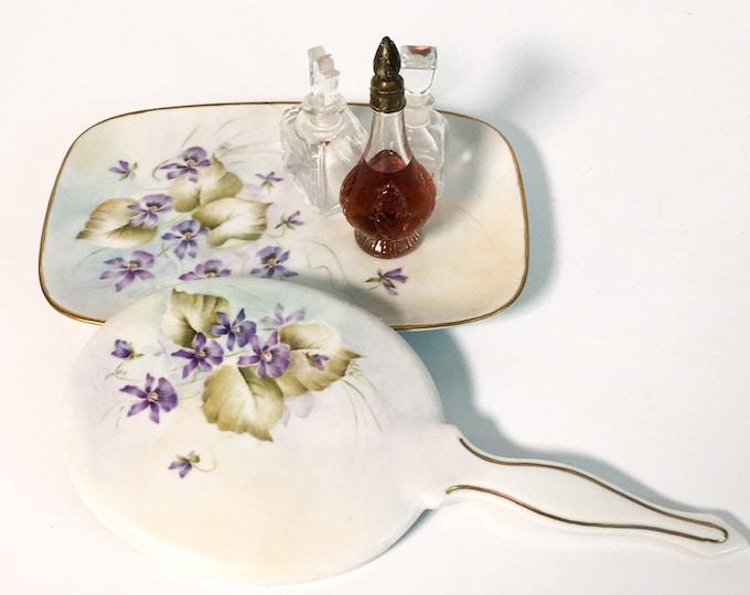 Vintage Porcelain Vanity Tray & Beveled Hand Mirror Hand painted Violets Signed KAY Bedroom Bathroom Decor Feminine Purple Green Florals