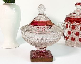 Vintage Red & Clear Ruby Flash Indiana Glass Diamond Point Covered Dish - Low Candy Nut Compote Bowl w/ Lid - Diamond Point Pattern
