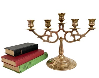 Vintage Wilton Brass Five Candle Candleabra - Retro Heavy 5 Candle Holder - Mid century Home Kitchen Dining Room Decor Five Arm Candlestick