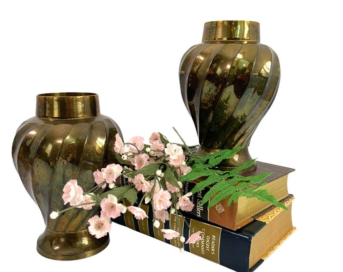 2 Vintage Brass Vases - Pair Retro Home Decor - Two Matching Mantle Table Vase w/ Swirl Classic Shape - Living Room Library Study