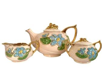 Vintage 3 Pc Set Hull Art Teapot Sugar & Creamer - 1940s Retro Kitchen Pottery H-20 Blue Magnolia Set Tea w/ Gold Accents