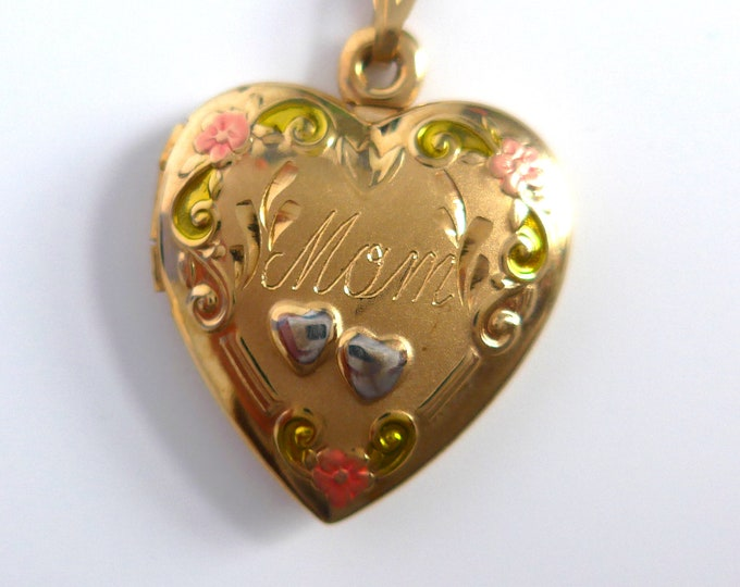 14K Gold Filled Double Heart MOM Locket Necklace - White & Yellow Gold Fill Locket Hand Painted Pink Flowers Green Swirls Mother's Day Gift