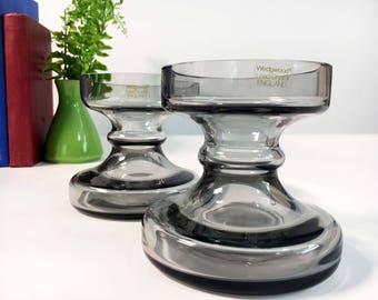 Vintage Pair of Wedgwood Glass Candleholders Midnight Grey - Frank Thrower Stella Dartington - Smokey Modern Crystal Candle Holders Set of 2