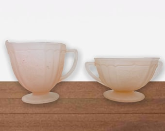 Mayfair Pink Depression Satin Glass Footed Sugar & Creamer w/ Raised Flowers - Antique Frosted Glass Unique Kitchen Serving 1930s Vintage