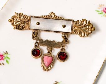 Vintage / Antique Costume Jewelry with Glass - Bar Brooch Gold Tone w/ Heart & Mother of Pearl 3 Dangles - Victorian Bar Pin w/ Pink Red