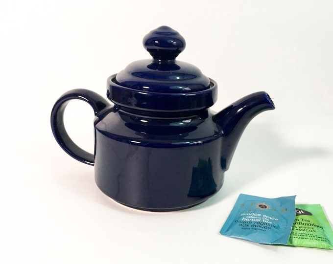 Vintage Waechtersbach Spain Navy Blue Pottery Teapot w/ Lid Dark Blue 5 Cup Teapot - Mod - Made in Spain, Germany, West Germany Early 1990s