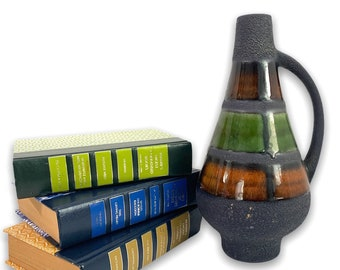 Mid Century Dumler und Breiden Vase Pitcher West Germany - Brown Green Rust w/ Yellow Interior circa 1960 - 1970s Pottery Mid Mod Home Decor