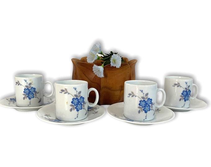 4 Vintage Demitasse Cups w/ Saucers Medallion Porcelain by Renner - Blue Floral Set of Four Retro Espresso Coffee Set MCM
