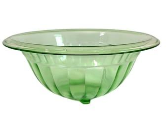 Vintage Green Depression Glass Bowl Paneled Ribbed Sides rolled edge - Uranium Glass Retro Kitchen Serving Home Decor - Round w/ Unique Base