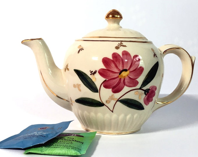 Vintage Shawnee Pottery Teapot Dark Pink Flower on Ivory - Retro Teapot Gold Lines, Spout, Handle & Knob Pottery Kitchen Decor Serving USA